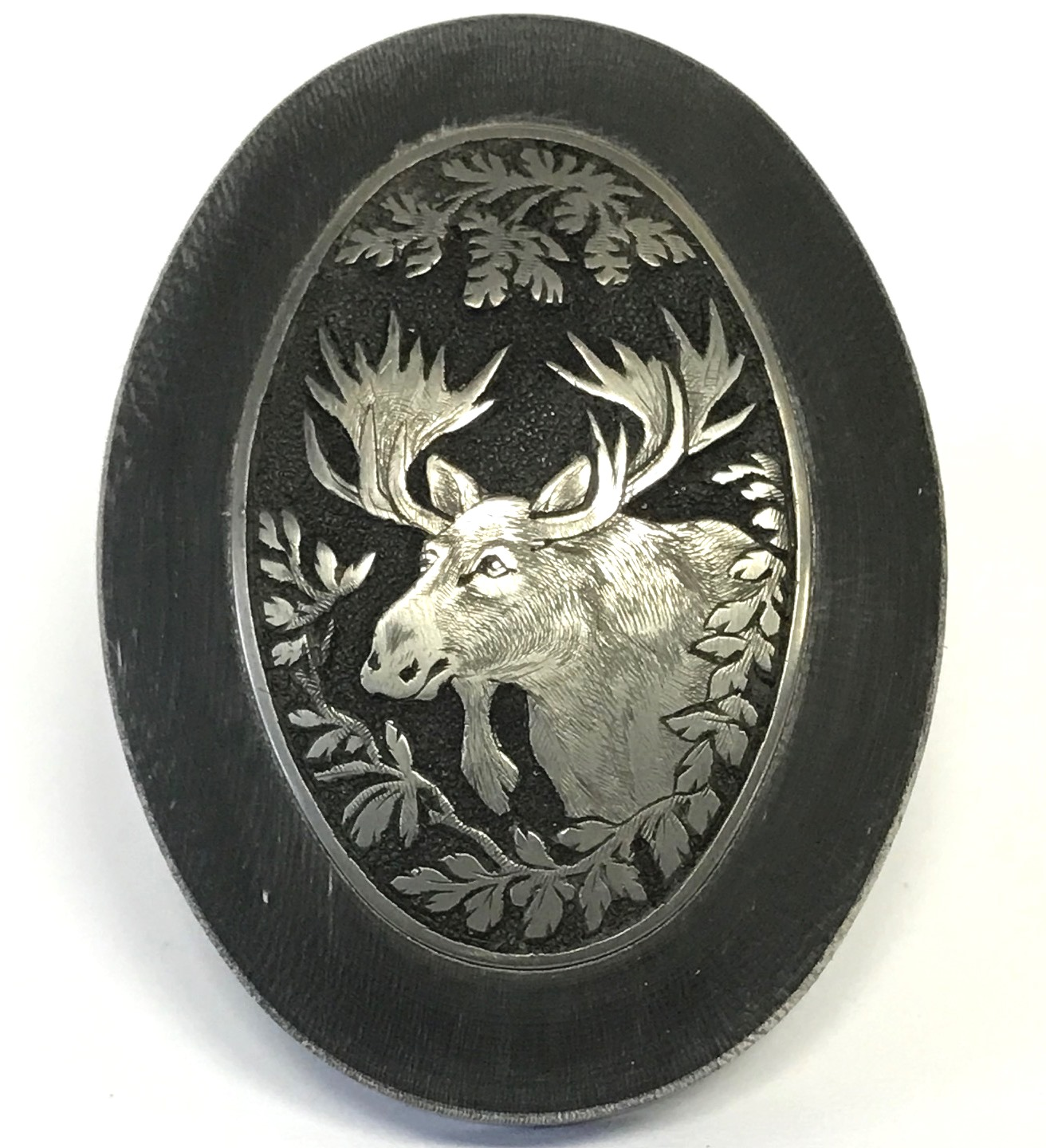 Horn Grip Cap with Hand Engraved Insert - Moose